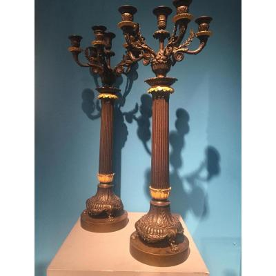 Important Pair Of Bronze Candelabra Chiseled Gilt And Patinated XIXth Empire.