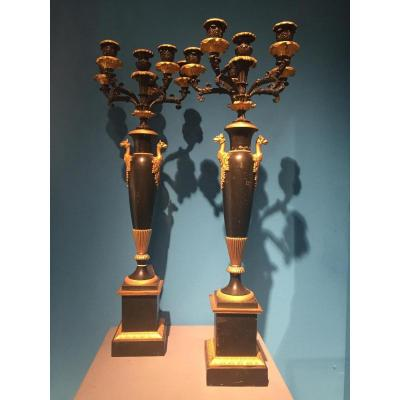 Important Pair Of Candelabra In Bronze And Painted Plate XIXth Empire.