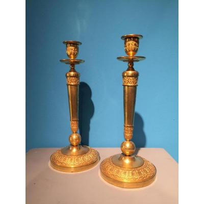 Rare Pair Of Candlesticks Decor From A Empire Earth Globe.