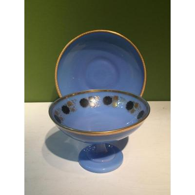 Cup And His Saucer Drageoir Opaline Blue XIXth Charles X.