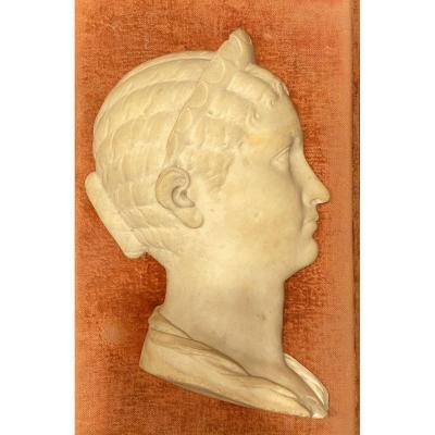 Profile Of Woman In Neoclassical Carved Marble Early XIXth.