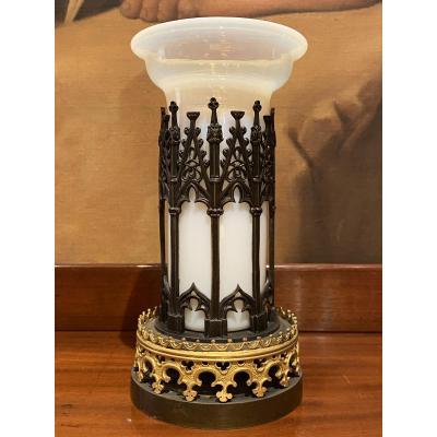 Opaline Vase Bronze Mount Cathedral XIXth Charles X.