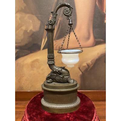 Veilleuse Lampe à Huile En Bronze Patiné Et Opaline XIXeme époque Charles X.