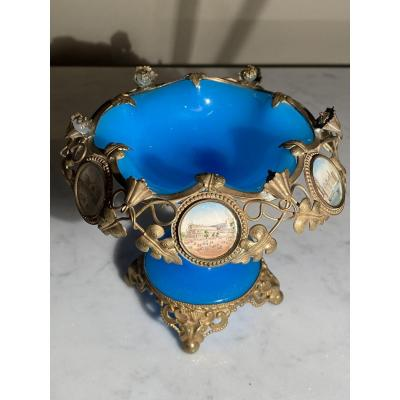 Coupe Baguier Bronze Opaline Bleu Miniatures Vue De Londres Et Paris XIXeme époque Napoléon III