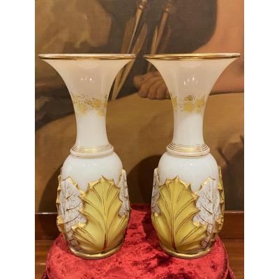 Rare Paire De Vases En Opaline Bicolore Blanc Et Jaune  Baccarat XIXeme Napoléon III.