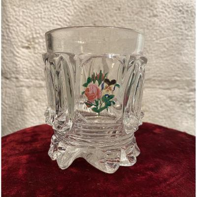 Crystal Glass Goblet With Cristallo- Cerame Baccarat XIXth Charles X Period.