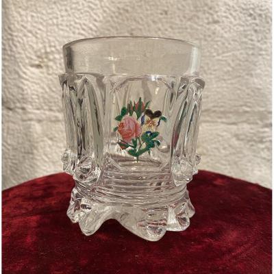Gobelet  ou Verre En Cristal  à Inclusions Cristallo- Cerame Baccarat XIXeme époque Charles X.