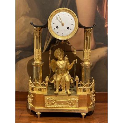 Importante Et Rare Pendule En Bronze L'amour à La Balancelle Debut XIXeme époque 1er Empire.