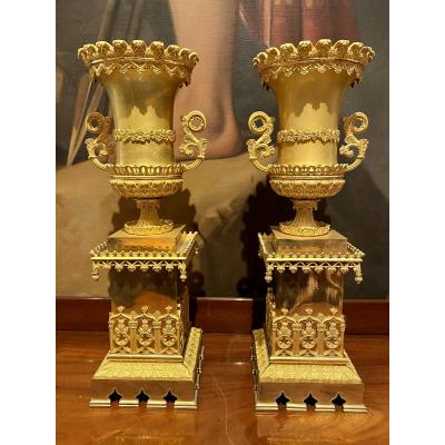 Pair Of Vases In Gilded Chiseled Bronze Cathedral Decor XIXth Charles X Period.