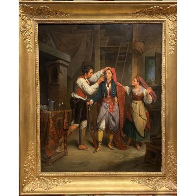 Oil On Canvas Table By Jean-augustin Franquelin 1838 XIXth Restoration Period.