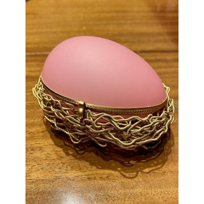 Egg Shaped Box In Pink Opaline Mid XIXth Napoleon III Period.