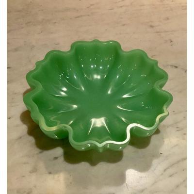 Important Baguier Cup Baccarat Or St Louis In Green Opaline XIXth Napoleon III Period.