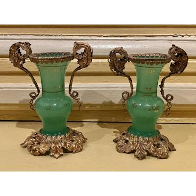 Pair Of Small Vases In Green Opaline Mounts In Golden Pomponne XIXth Napoleon III.