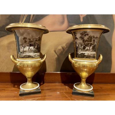 Paire De Vases En Porcelaine Signée Dagoty Debut XIXeme époque 1er Empire.