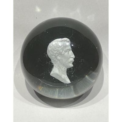 Paperweight Or Sulfide Cristallo Cerame Profile Of Napoleon III Manufacture Of Clichy Nineteenth.