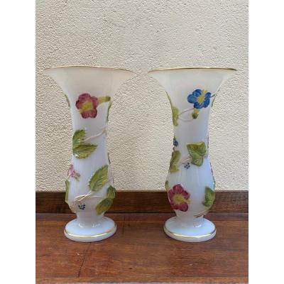 Pair Of Opaline Vases Decor With Bindweed Baccarat Manufacture XIXth Napoleon III.