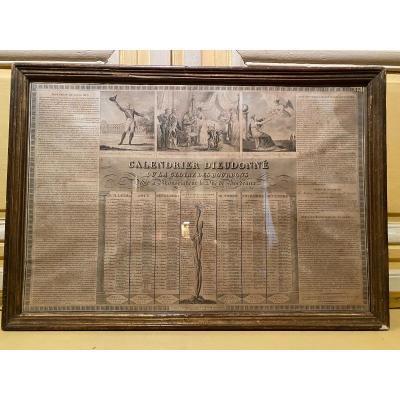 Gravure Calendrier Dieudonné Ou La Gloire Des Bourbons Dédié à Monseigneur Le Duc De Bordeaux.