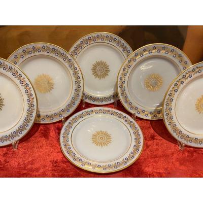 Rare Suite De Six Assiettes En Opaline Décor De Jean Baptiste Desvignes XIXeme époque Charles X
