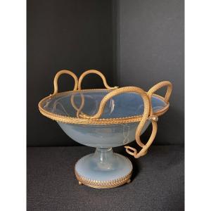 Rare Coupe Baguier En Opaline Savonneuse  Montée Bronze XIXeme époque Charles X.