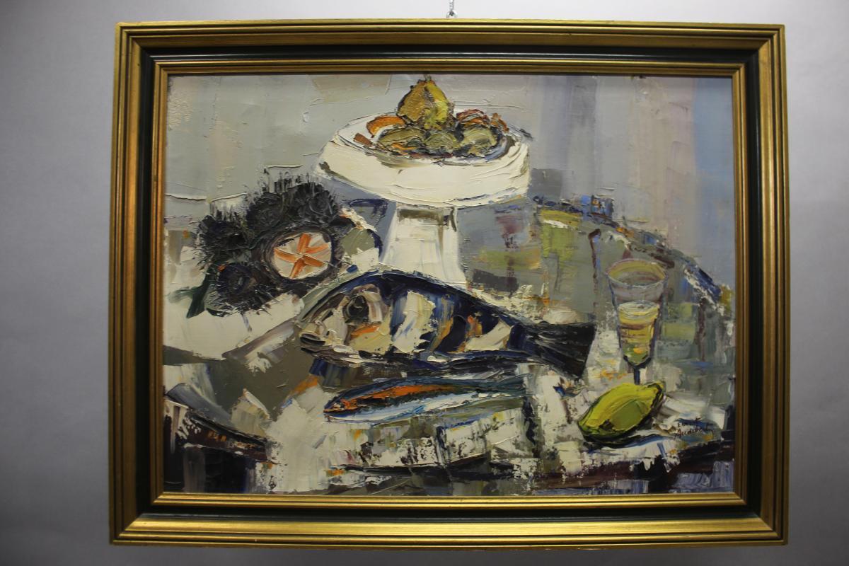 Oil On Canvas Ernest Audibert, Still Life With Fish