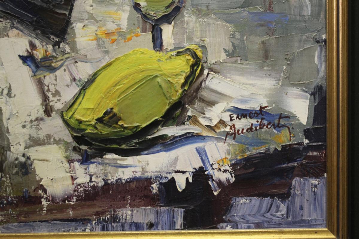 Oil On Canvas Ernest Audibert, Still Life With Fish-photo-2