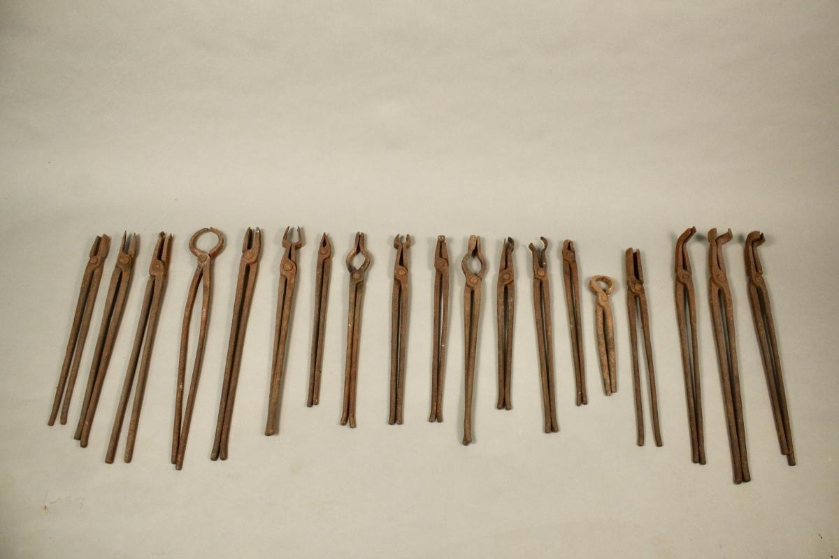 Set Of 19 Blacksmith Tongs Nineteenth