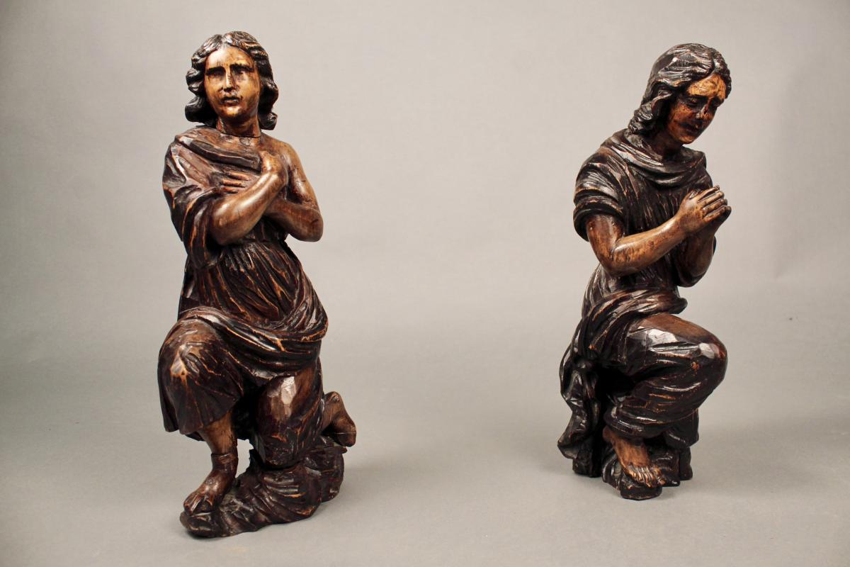 Couple De Personnages En Bois Sculpté XVIIIème