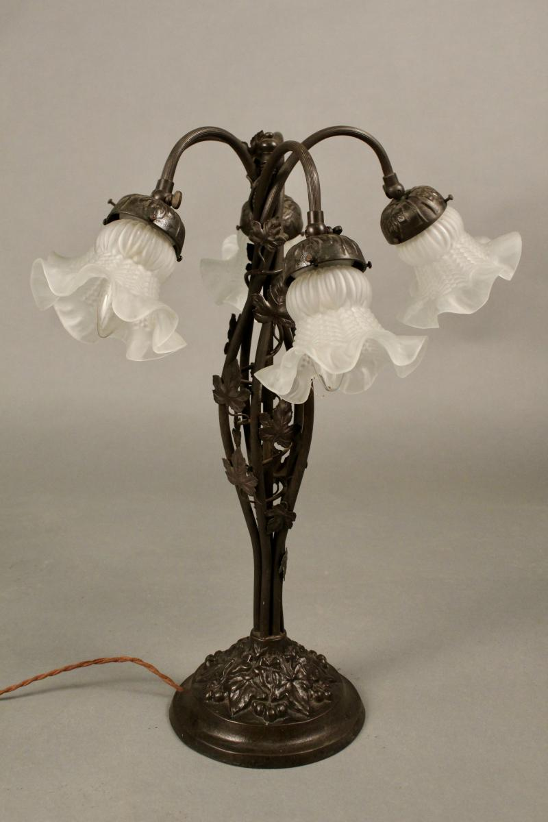 Lampe 1930 NANCY, à 5 tulipes