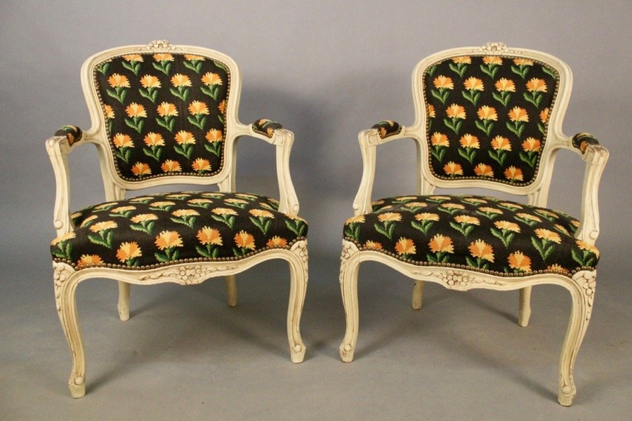 Pair Of Cabriolet Armchairs Louis XV Style