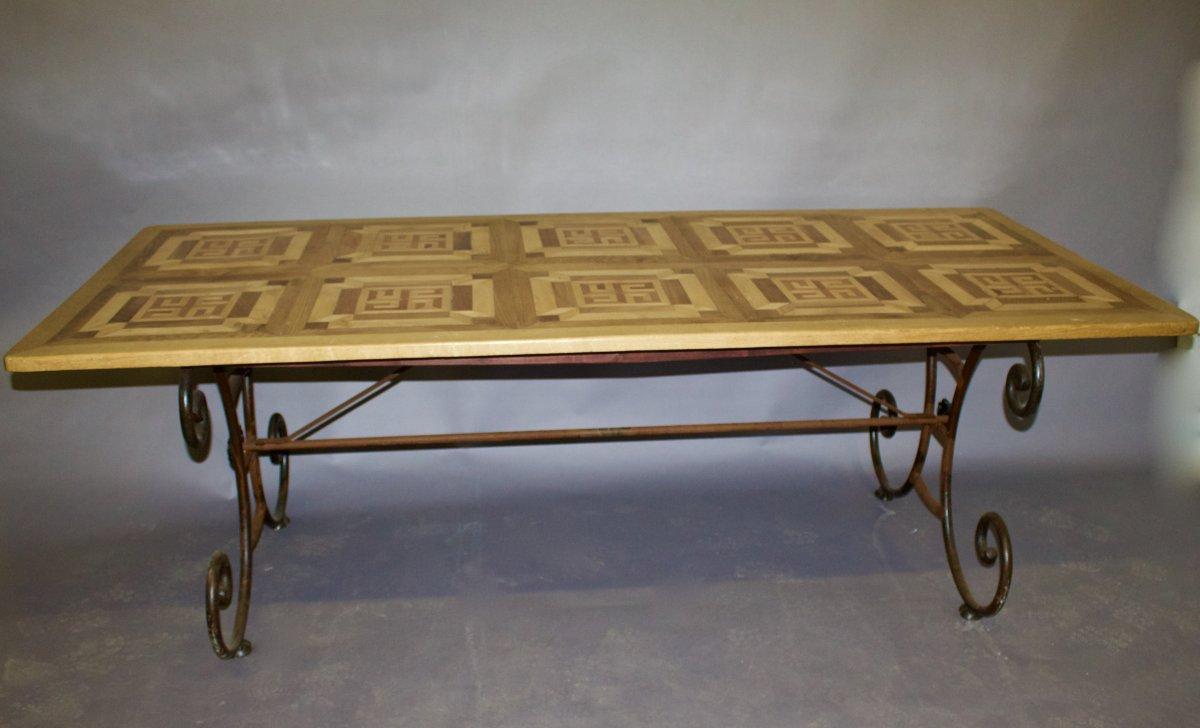 Table à Dessus Parquet Ancien Et Piètement Fer Forgé