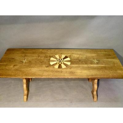 Table In X, Top Inlaid Rosette And Rose Of Winds