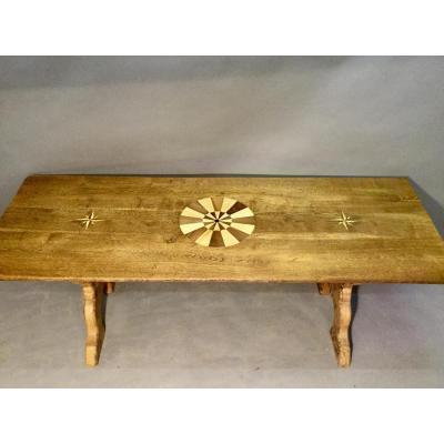 Table Pied En X, Dessus Marqueté Rosace Et Rose Des Vents