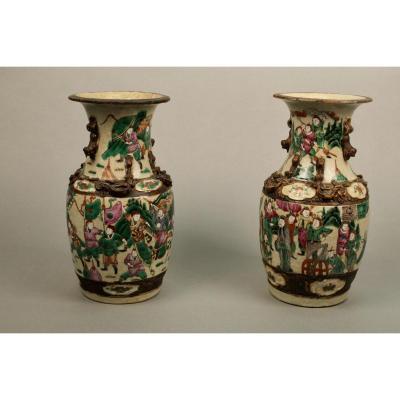Paire De Vases En Porcelaine De Nankin XIXème