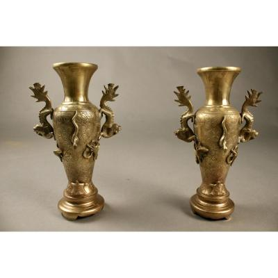 Pair Of Vases In Bronze Japanese Early Twentieth