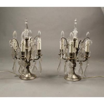 Pair Of Girandoles Crystal Louis XV Style