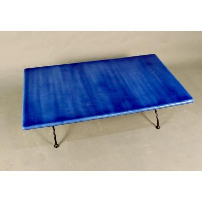 Enamelled Lava Stone Top Coffee Table