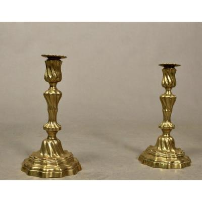 Pair Of Bronze Candlesticks Nineteenth
