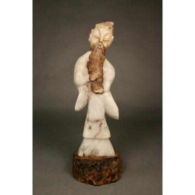 Asian Sage Statue In Onyx