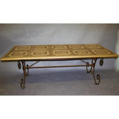 Table Top Old Parquet And Wrought Iron Base