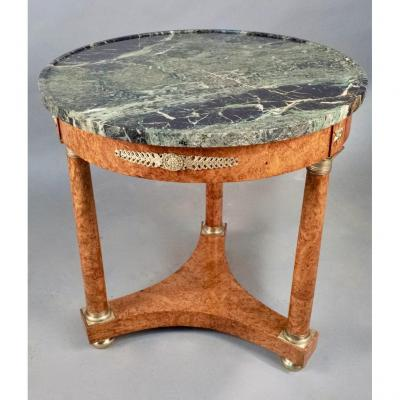 Empire Pedestal Table With Green Alps Marble