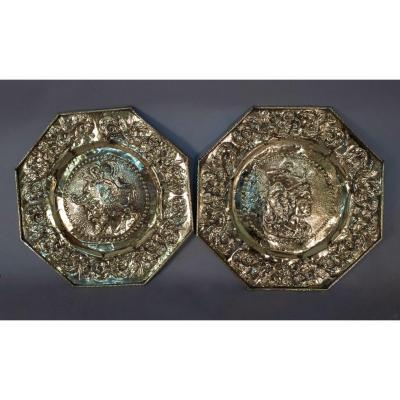 Octagonal Offering Plates Contained Minerva And Mars