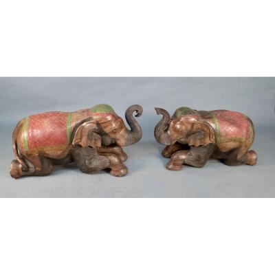 Couple Of Painted Teak Elephants
