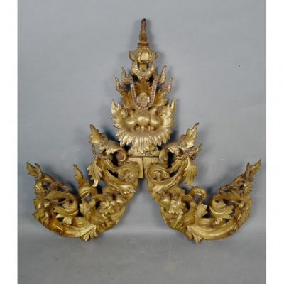 Decorative Element In Golden Wood