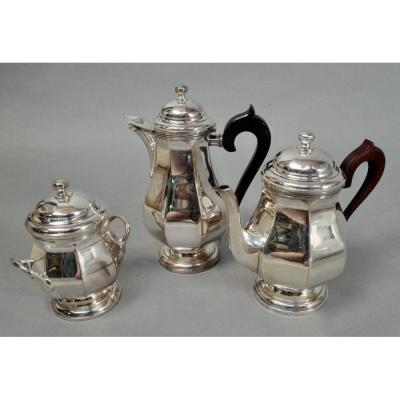 Silver Metal Coffee And Tea Service 3 Pieces