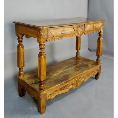 Console in Bressan style, XIXth in oak and ash burl. It comes from a castle and undoubtedly was made to order because it is rare to find Bressan consoles. It opens with two drawers.