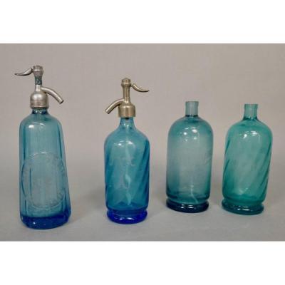 Lot De 4 Siphons De Bistrot En Verre Bleu d'époque 1900