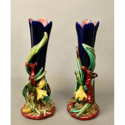 Pairs Of Vases With Sarguemines Majolica Flower Decor