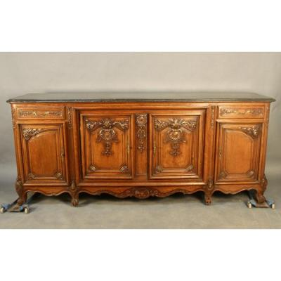 Large 4-door Sideboard In Louis XV Style, Top Pierre De Saint Cyr