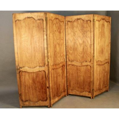 Double-sided Louis XV Style Cherry Wood 4-leaf Screen