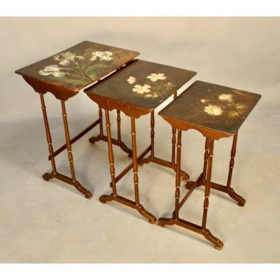 Nesting Tables X 3, Decorated With Flowers Vernis Martin